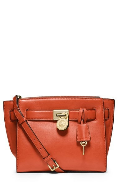 Image of MICHAEL Michael Kors 'Hamilton - Traveler' Leather Messenger Bag - ORANGE