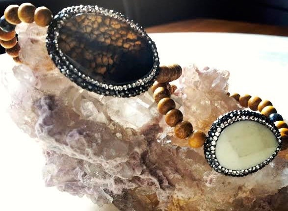 Image of Harmonizing <3 Hematite Encrusted Agate with Sandalwood and Black Opal