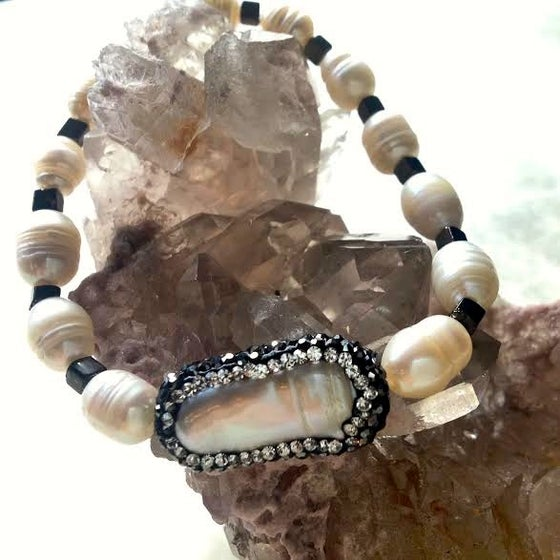 Image of Water Goddess <3  Hematite Encrusted Pearl with Brass and Fresh Water Pearl Beads