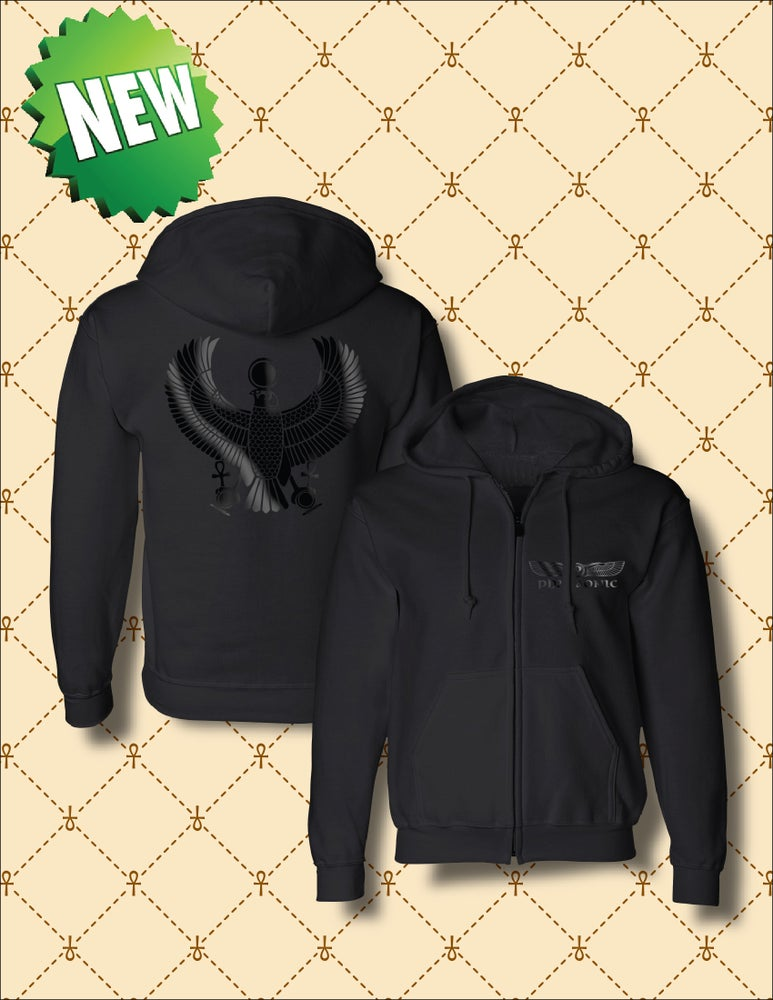 Image of MEN'S/WOMEN'S BLACK FOIL HRU ZIP UP HOODIE