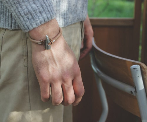 Image of men's silver toggle bracelet, natural