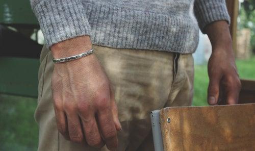 Image of men's silver ingot bangle (light weight)