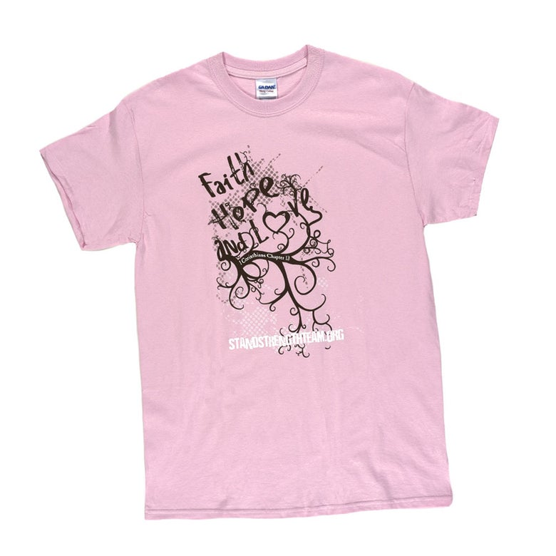Image of Ladies' Pink Cotton T - Faith, Hope and Love