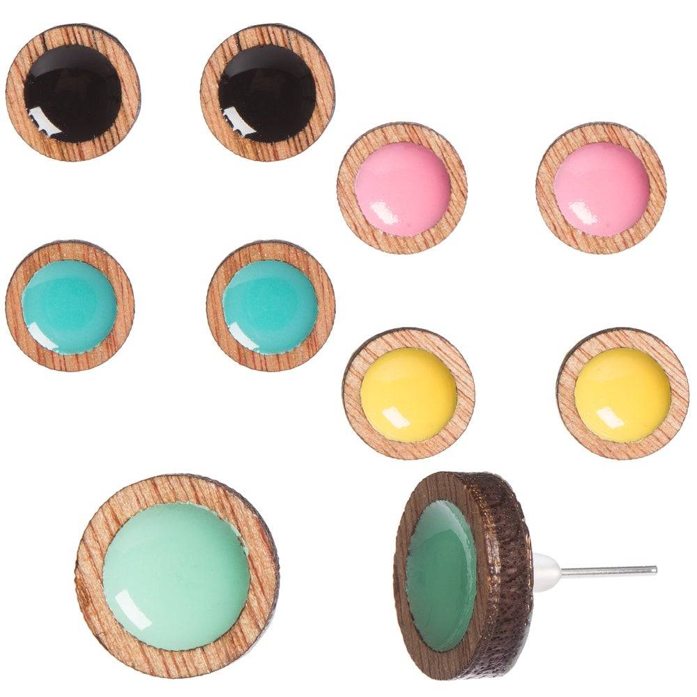 Image of Wooden Frame Circle Cutout Earrings