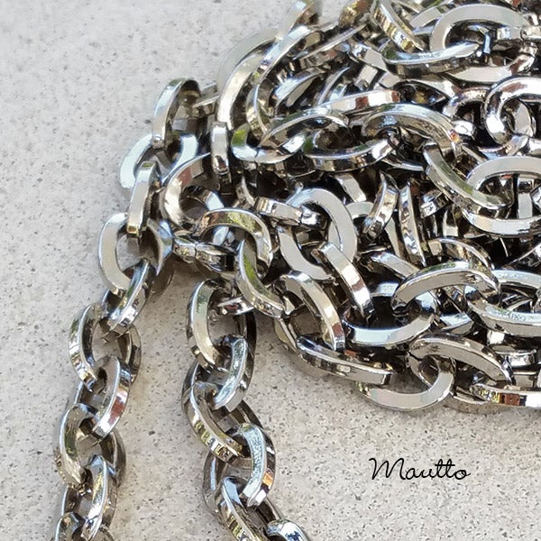 """Image of NICKEL Chain Strap - Mini Elongated Box Chain - 1/4"""" (7mm) Wide - Choice of Length & Hooks/Clasps"""