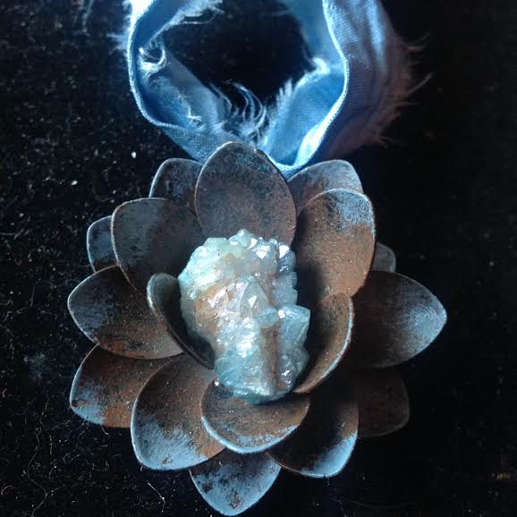 Image of Flower of Ascension Aqua Aura Quartz~ hand dyed silk chord with Matte Silver Earrings