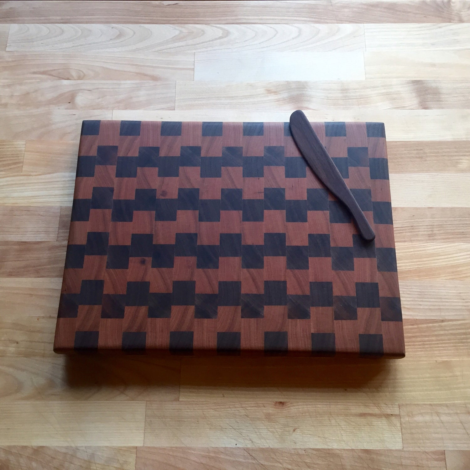 Image of Large cherry and walnut end grain cutting board