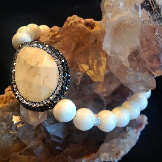 Image of Hematite Sacred White Buffalo Turquoise with Bone and Diamond Pave