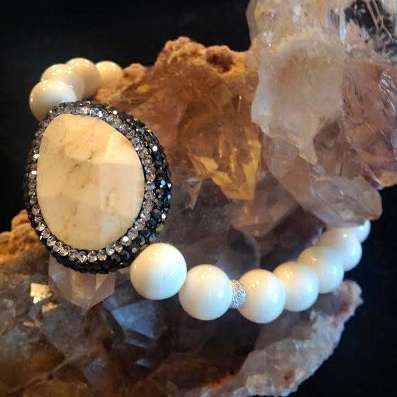 Image of Hematite Sacred White Buffalo Turquoise with Bone and Diamond Pave