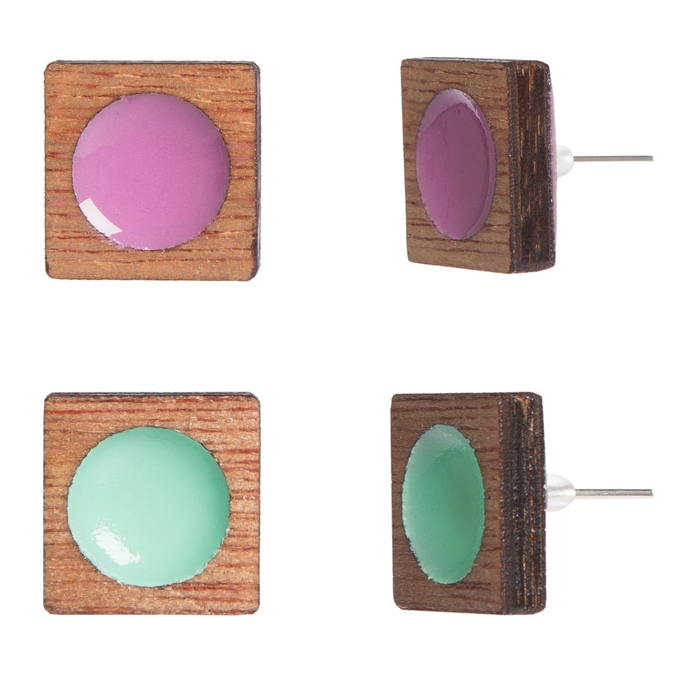 Image of Wooden Frame Square/Circle Cutout Earrings