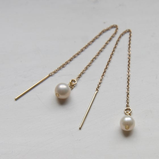 Image of Gold and AA Freshwater Pearl Thread Earrings