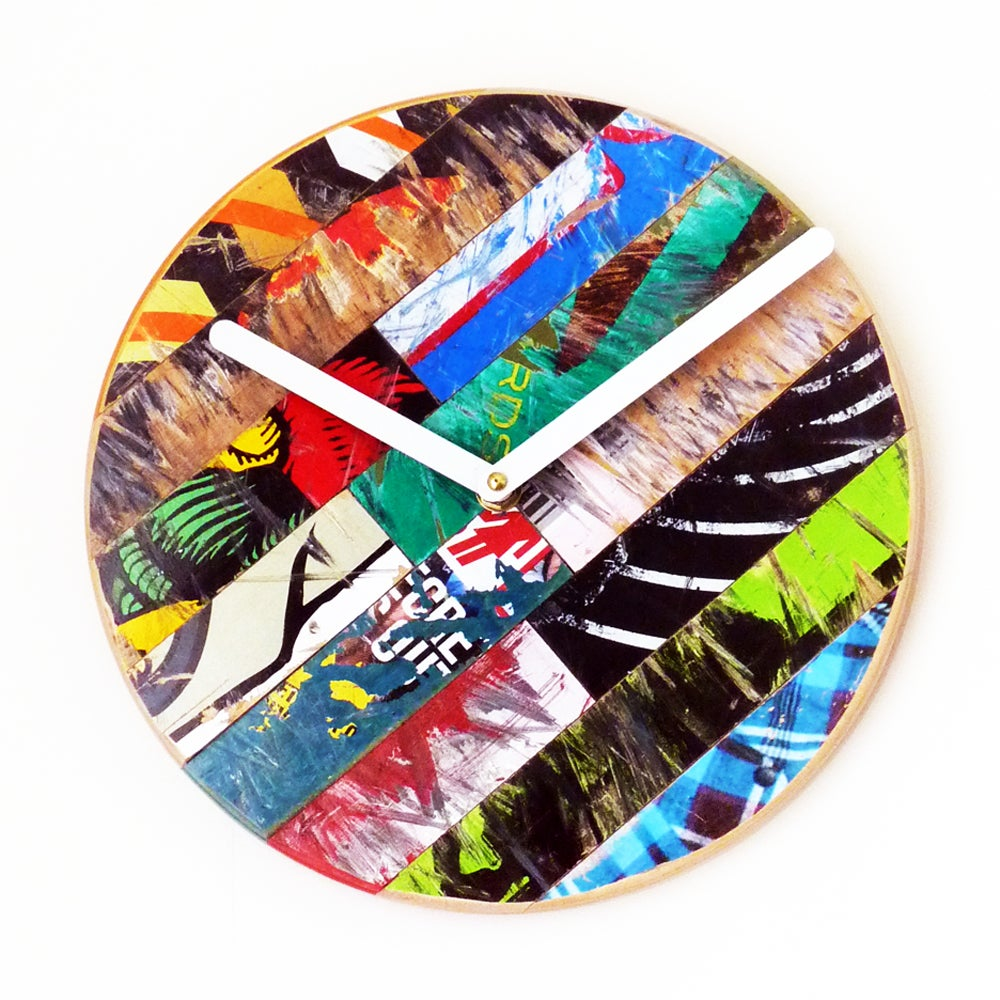 "Image of Basic Skateboard Clock- 10""(254mm) Dia. WallClock by Deckstool."