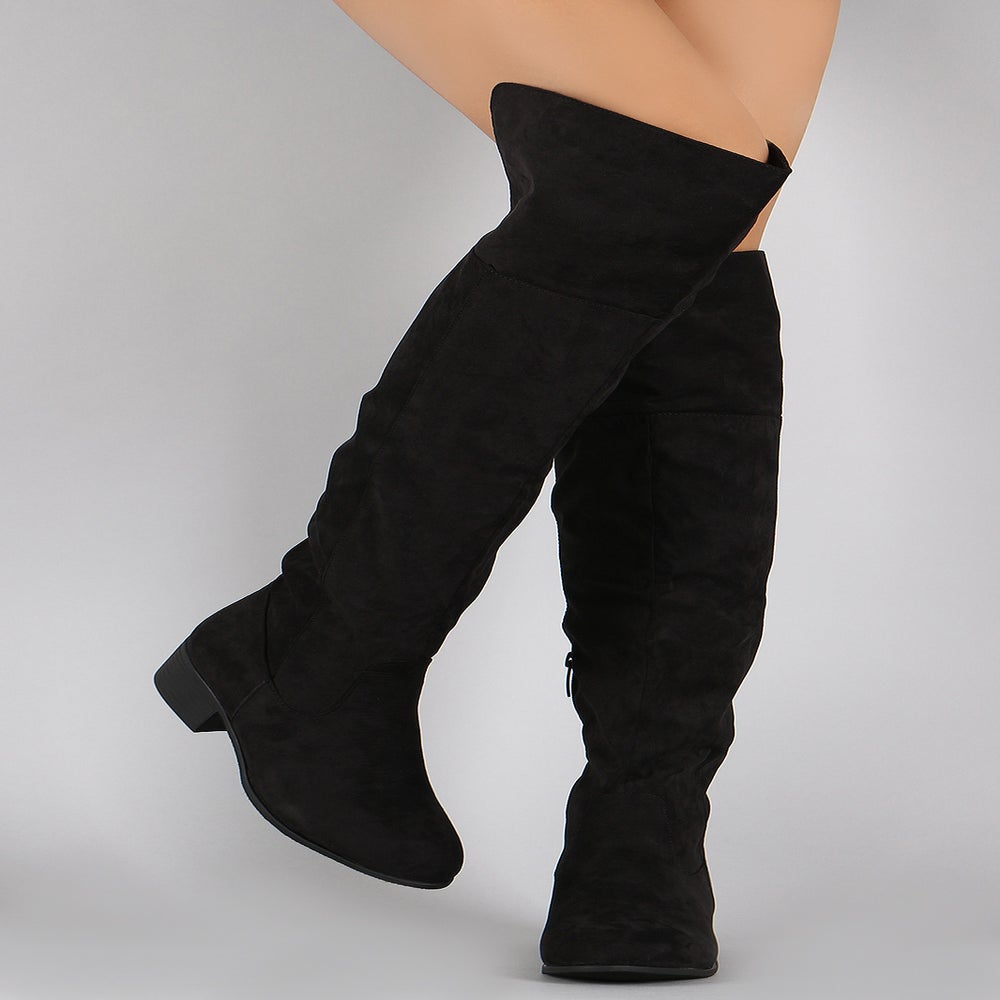 Image of Black Fetty Knee High Riding Boots