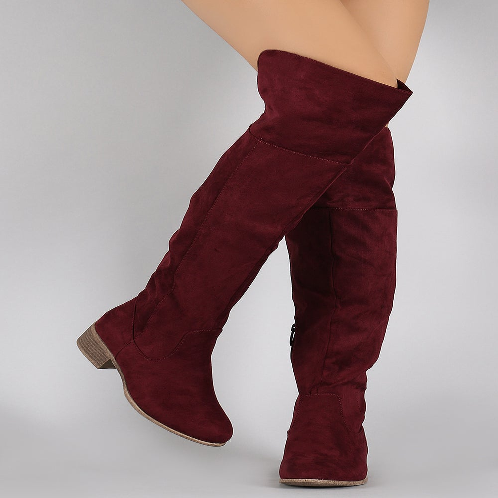 Image of Burgundy Fetty Knee High Riding Boots