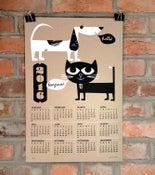 Image of 2016 Wall Calendar - Silkscreen Cat & Dog Buds - NEW!