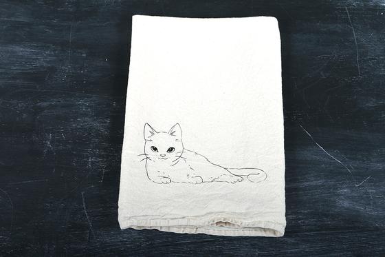Image of Laying Cat Tea Towel