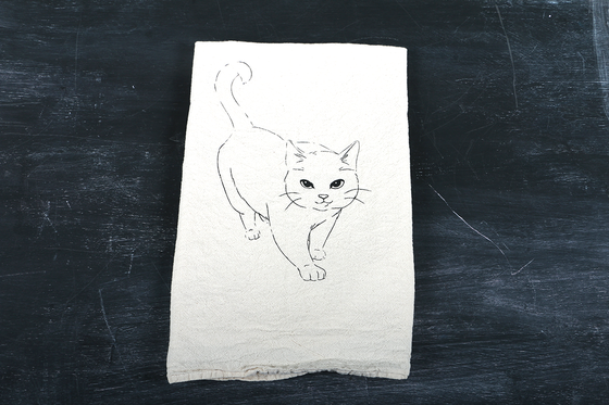 Image of Walking Cat Tea Towel