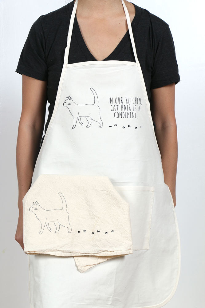 Image of Cat Hair Condiment Apron and Tea Towel Set