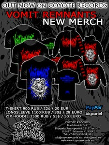Image of VOMIT REMNANTS - NEW MERCH (T-shirt/Longsleeve/Zip-Hoodie)
