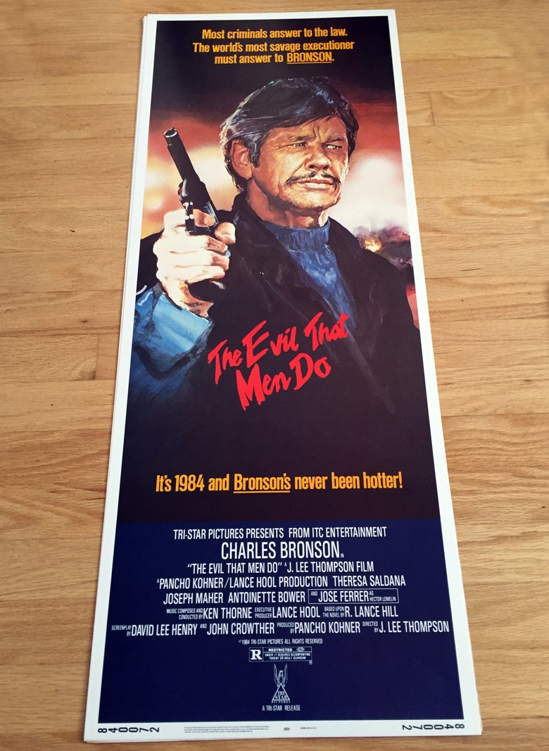 Image of 1984 THE EVIL THAT MEN DO Original U.S. Insert Movie Poster