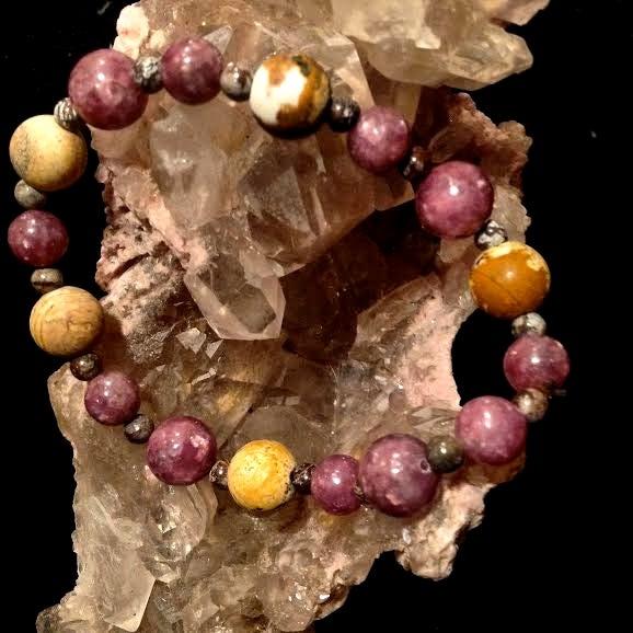 Image of Restore Energy <3 Purple Lepidolite, Snowflake Obsidian, Fossilized Wood
