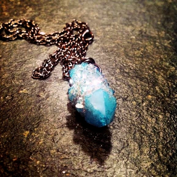 Image of MAGICAL AND MYSTICAL AQUA AURA FAIRY QUARTZ NECKLACE