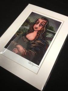 "Image of La Gioconda (Mona Lisa) - Signed Mini Print with White Mat, 5""x7"""