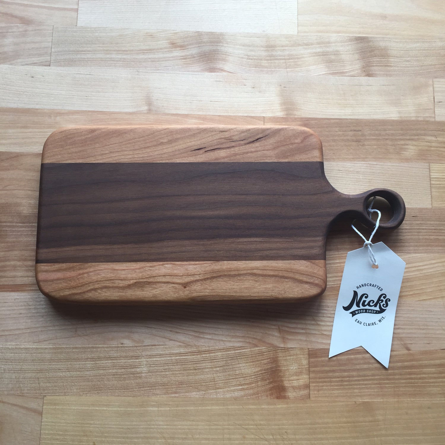 Image of Cherry and walnut handled cheese board