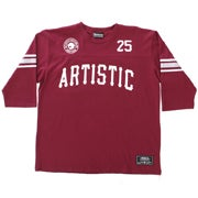 Image of 3/4 Sleeve Vintage Artistic Football Jersey - Maroon
