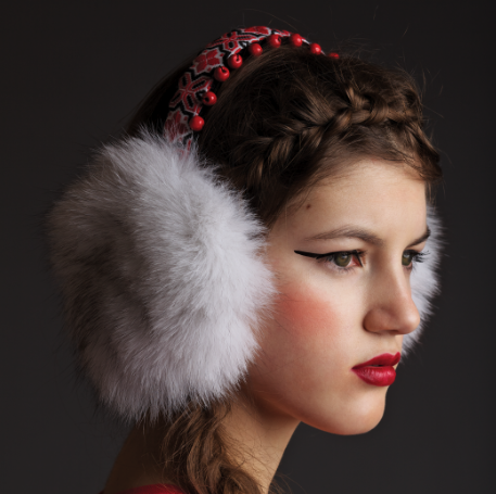 "Image of ""Mykhaila"" Silver Fox Earmuffs with Beading"
