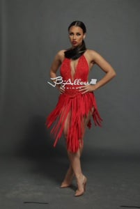 Image of Red beaded fringe dress