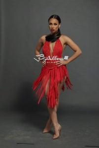Image of Red beaded fringe dress