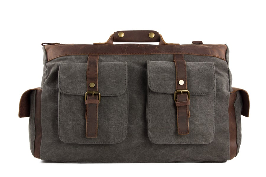 Image of 15'' Canvas Leather Travel Bag Briefcase Messenger Bag Shoulder Bag Dufulle Bag 1858