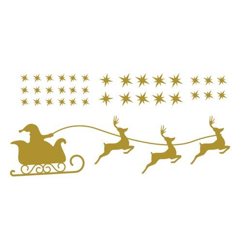 Image of Vinilo Navidad trineo y estrellas oro