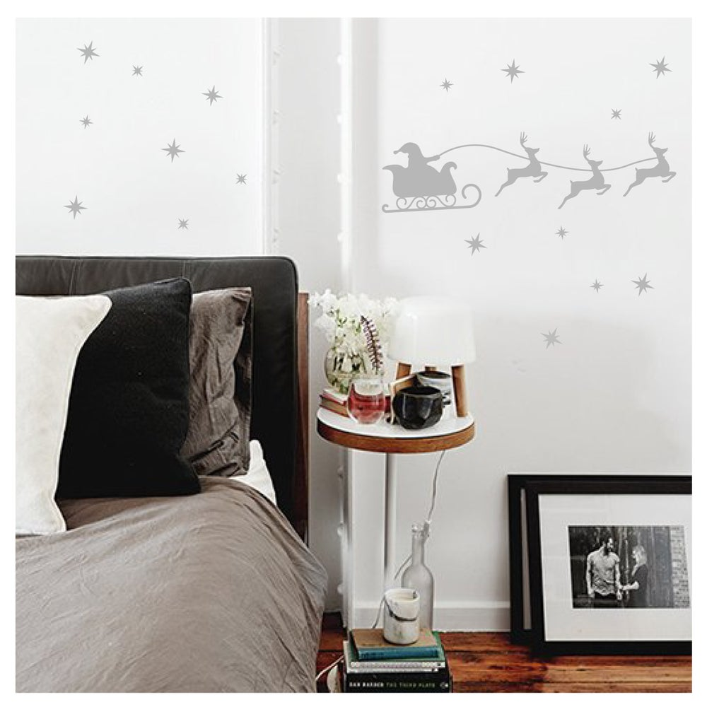 Image of Vinilo Navidad trineo y estrellas plata