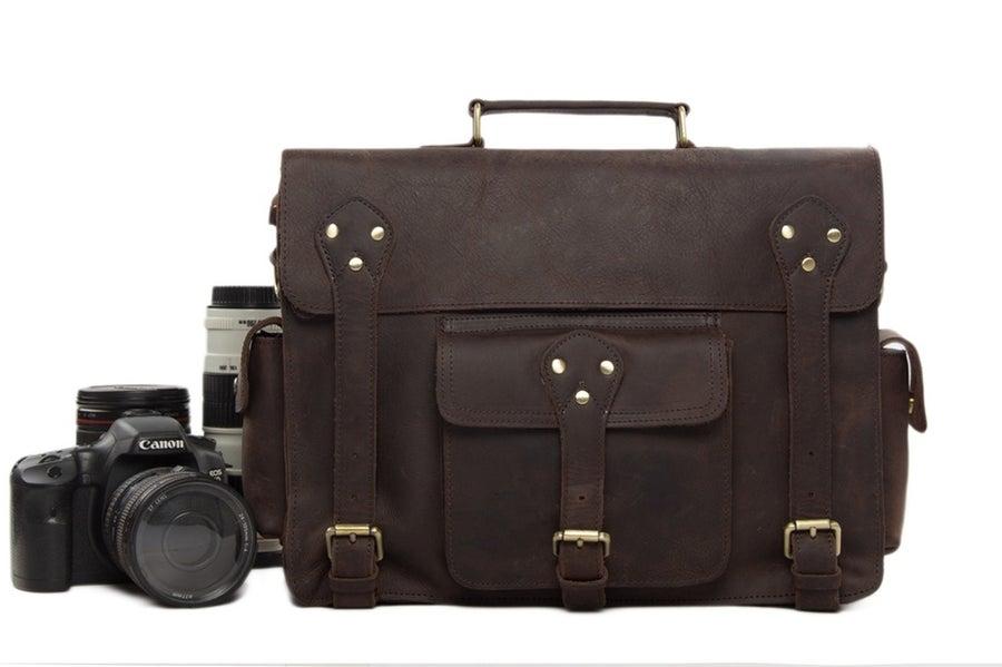 Image of Genuine Leather DSLR Camera Bag Leather Briefcase Leather Camera Bag 7200