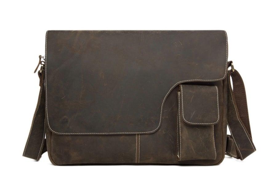 Image of 13'' Handcrafted Vintage Genuine Leather Messenger Bag Crossbody Bag Shoulder Bag Macbook Bag 1092