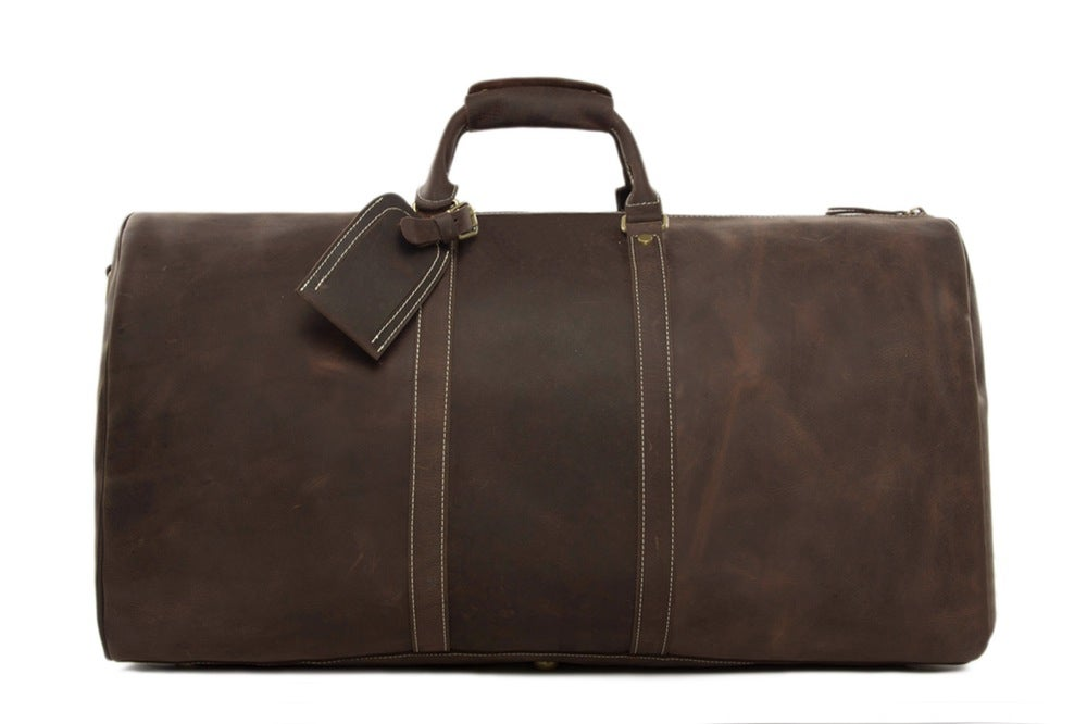 Image of Handmade Extra Large Vintage Full Grain Leather Travel Bag, Duffle Bag, Holdall Luggage Bag 12027