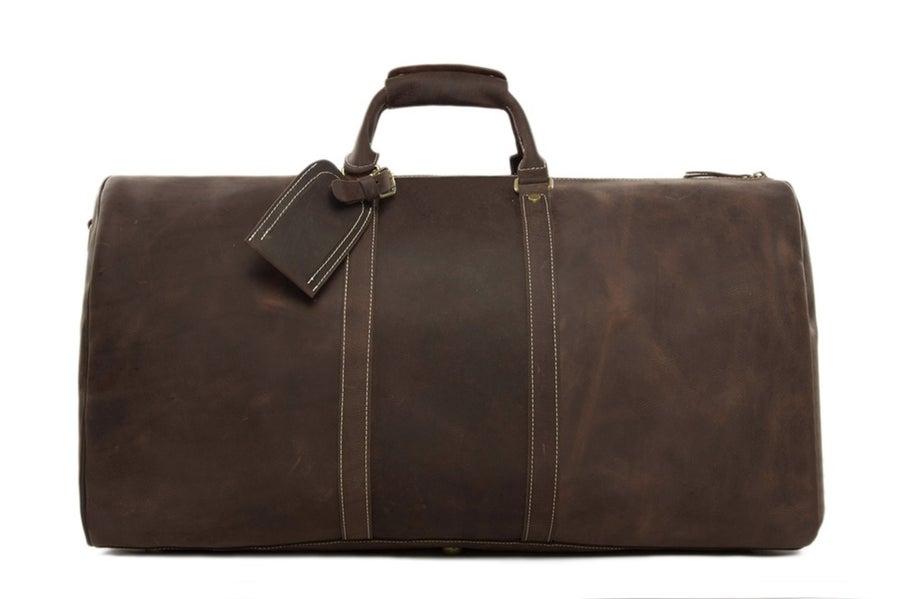 Image of Handmade Extra Large Vintage Full Grain Leather Travel Bag, Duffle Bag, Holdall Luggage Bag 12027
