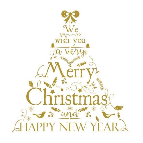 Image of Vinilo Navidad árbol texto oro