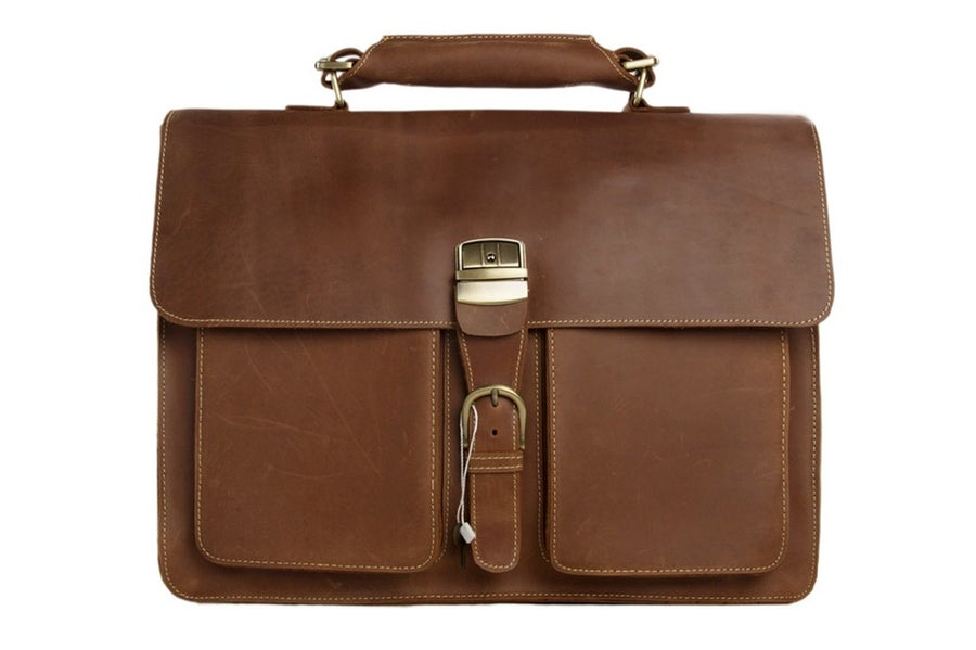 Image of Handmade Italian Full Grain Vintage Brown Leather Briefcase Men Messenger Bag Laptop Bag 1031