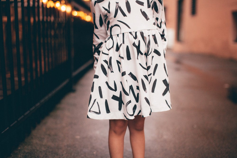 Image of ORGANIC COTTON ABSTRACT long sleeve MIA Dress