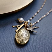 Image of Personalised Locket Necklace With Bird Charm
