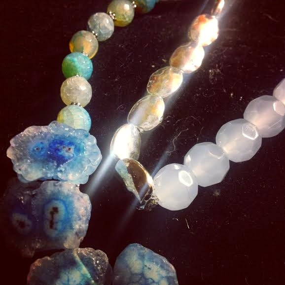 Image of Balance Spirit and Body ~Solar Quartz Slices with Agate and Jade with silver