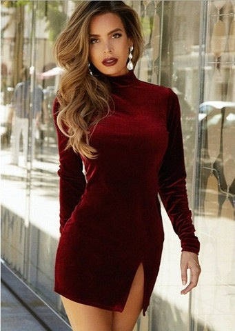 Image of HOT WINE RED SEXY LONG SLEEVE DRESS