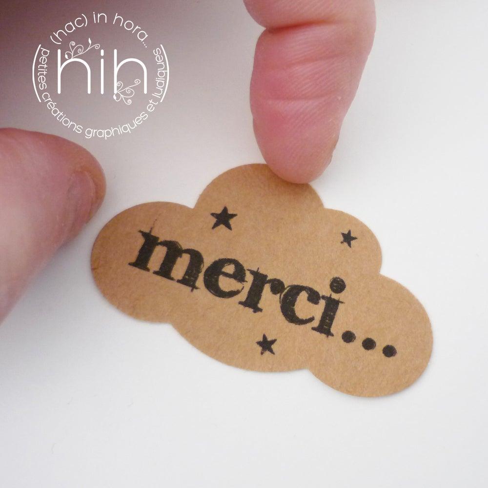 Image of étiquettes autocollantes ☁nuage☁ 'Merci !'