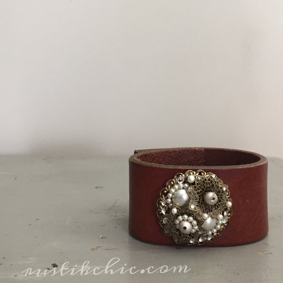 Image of Antique Beaded Earring Vintage leather Cuff