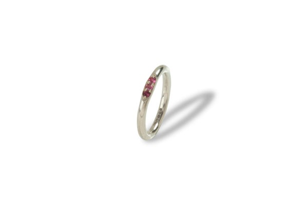 Image of Sterling silver mini signet ring with pink sapphires