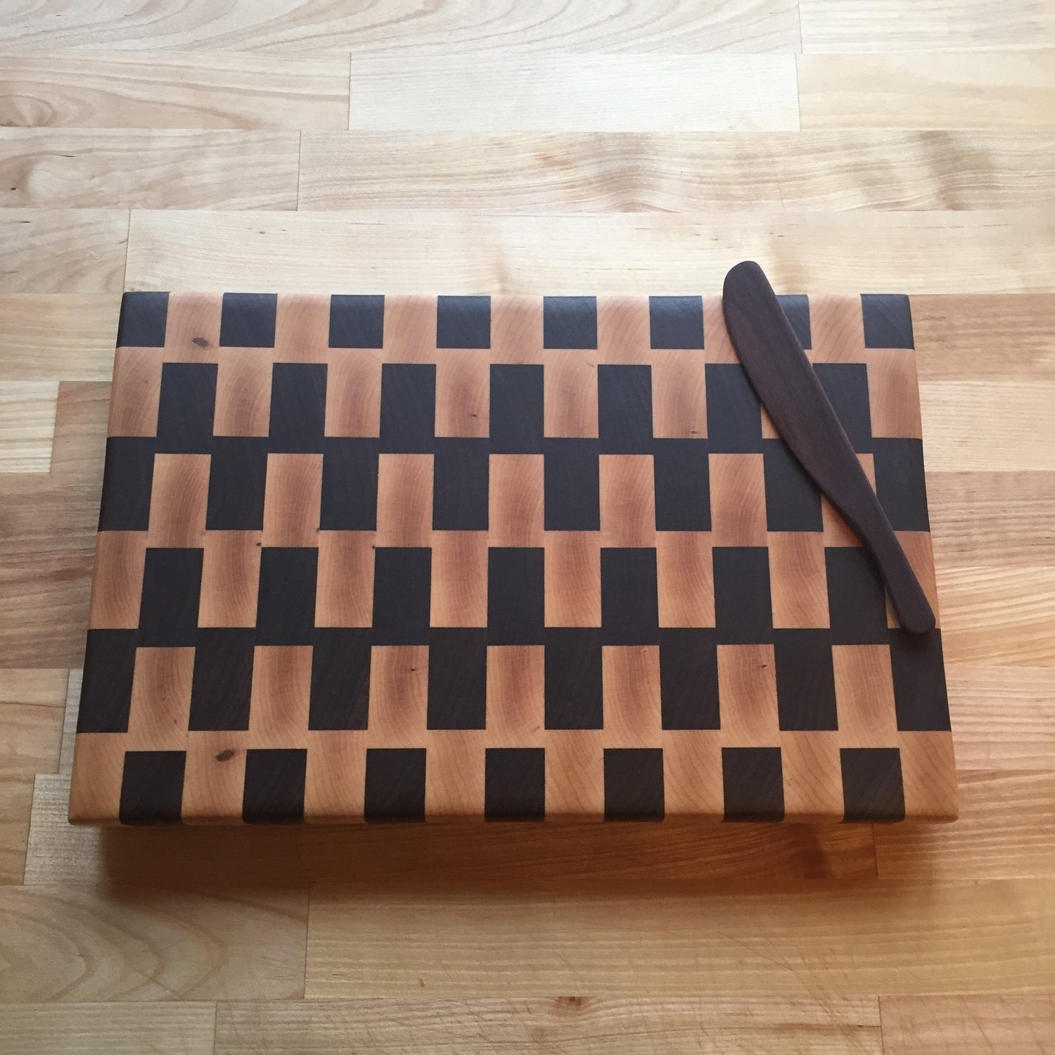 Image of Large walnut and maple end grain cutting board