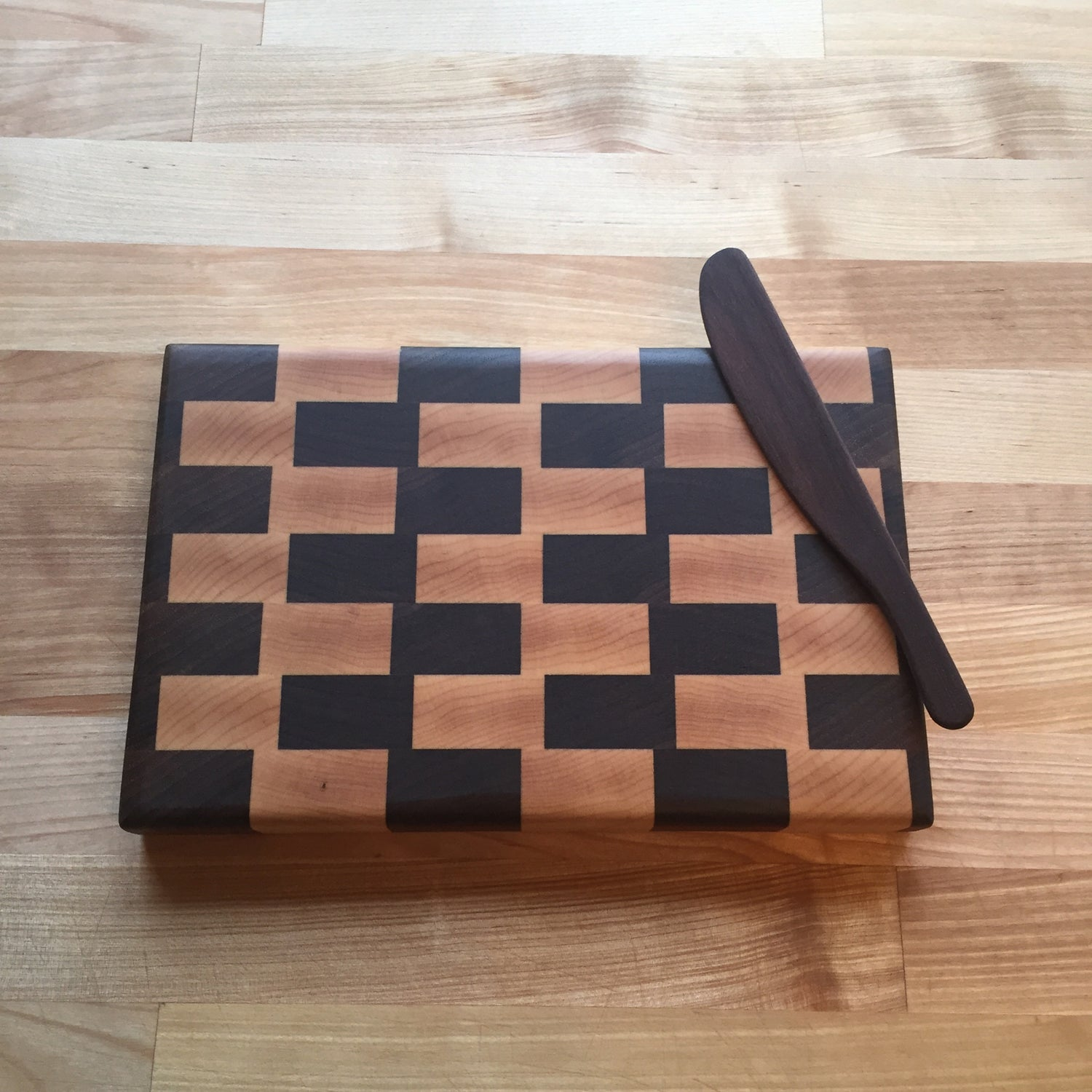 Image of Small walnut and maple end grain cutting board